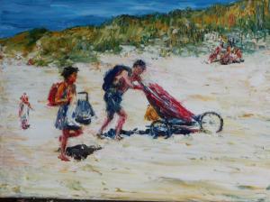 strand met de wagen