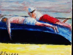 strand op een boot