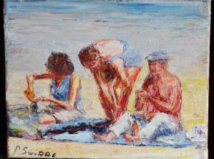 strand op een kleedje